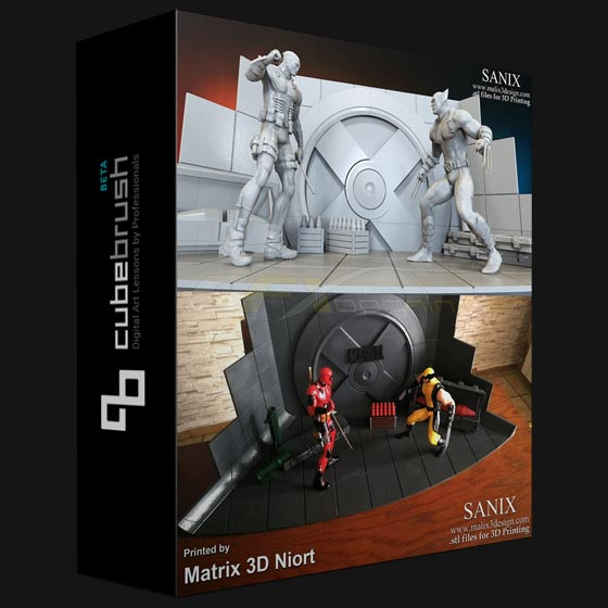 Cubebrush - Xmen Diorama Deadpool vs Wolverine and Darth Vader 3D Print Models